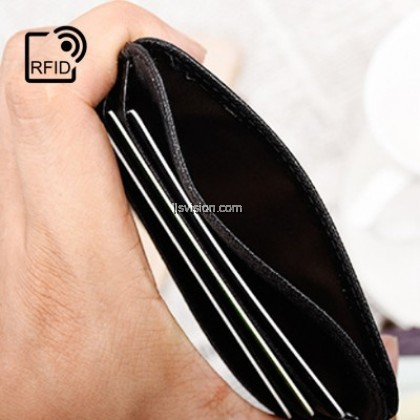 LLS RFID Safe 6 Slot Extra Slim G.Leather Travel Wallet